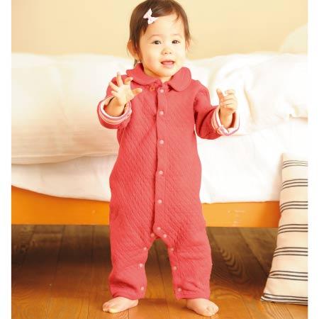 【SALE】PIMA COTTON 接結あったか前開きカバーオール ピンク たまひよSHOP