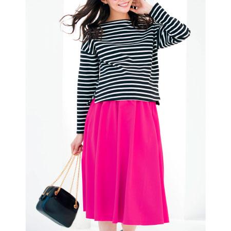 Petit Cocoon きれいめカラーのミモレ丈フレアスカート ピンク たまひよSHOP