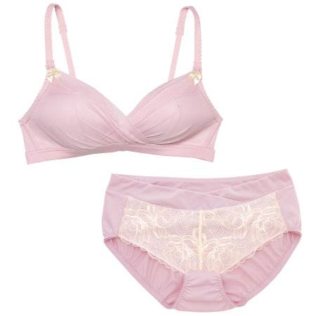 プレシャスなふんわり授乳ノンワイヤー&ショーツ (産前産後)ピンク たまひよSHOP