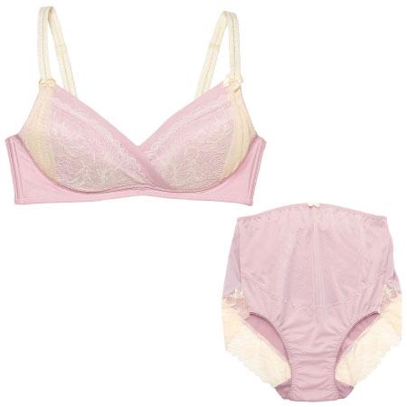 プレシャスなレーシー授乳ノンワイヤー&ショーツ (マタニティ)ピンク たまひよSHOP