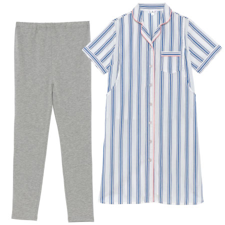 授乳口つき綿平織半袖パジャマ サックス たまひよSHOP