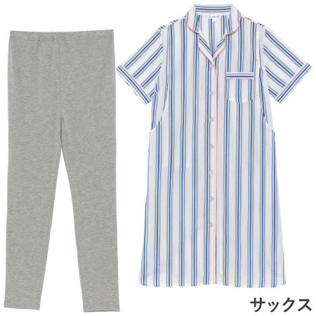mutti ei 授乳口つき綿平織半袖パジャマ サックス たまひよSHOP