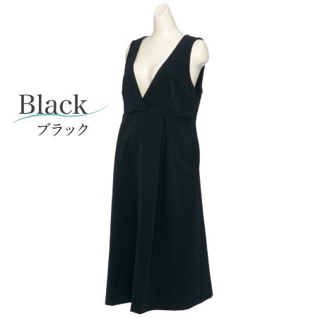 LOVE MIC ストレッチジョーゼットフレアジャンパースカート ブラック