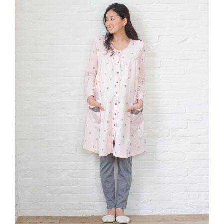 mutti ei 授乳口つきニットキルト雪柄プリントパジャマ ピンク たまひよSHOP