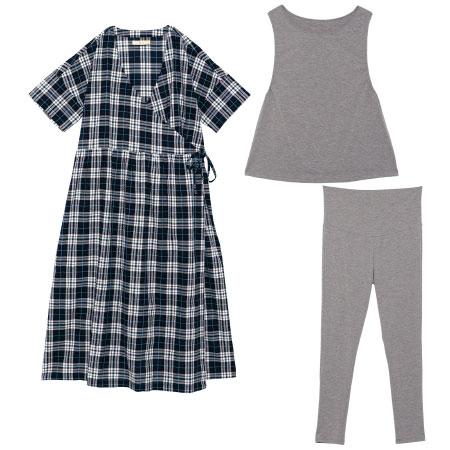 授乳しやすいサッカー素材の半袖カシュクールパジャマ3点セット ネイビー たまひよSHOP
