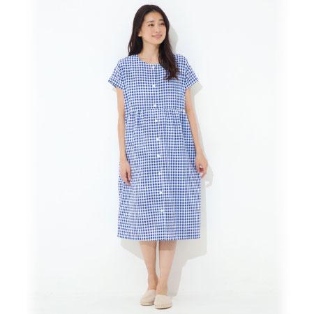 授乳しやすいサッカー素材のワンピースパジャマ ブルー たまひよSHOP