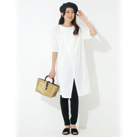 授乳しやすいフロントスリットロングTシャツ ホワイト たまひよSHOP