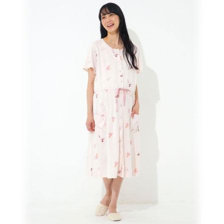 授乳口つきアイス柄半袖ワンピースパジャマ ピンク たまひよSHOP
