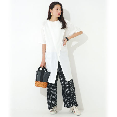 【レイヤードStyle】フロントスリットロングTシャツ&ワイドパンツセット ホワイト たまひよSHOP