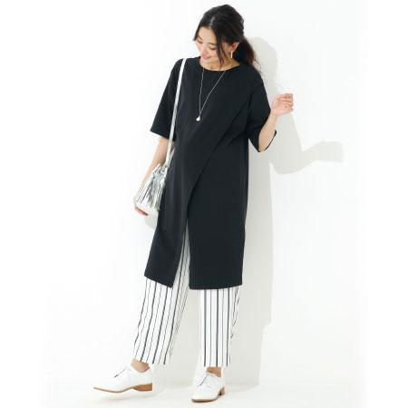 【レイヤードStyle】フロントスリットロングTシャツ&ワイドパンツセット ブラック たまひよSHOP