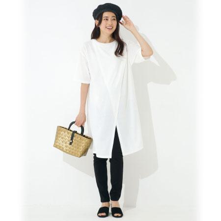 【レイヤードStyle】フロントスリットロングTシャツ&パンツセット ホワイト たまひよSHOP