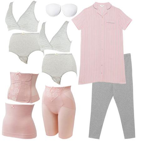 【送料無料】入院準備の基本セット(スーパープレミアム) 半袖×ピンク たまひよSHOP