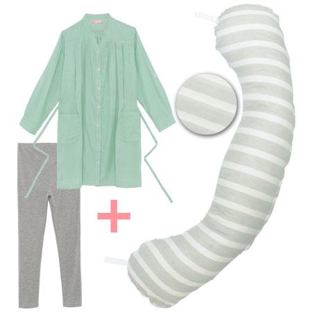 【送料無料】丸洗いで清潔!妊娠-授乳用お助け抱き枕&Wガーゼ長袖パジャマ グレーボーダー×パジャマグリーン たまひよSHOP