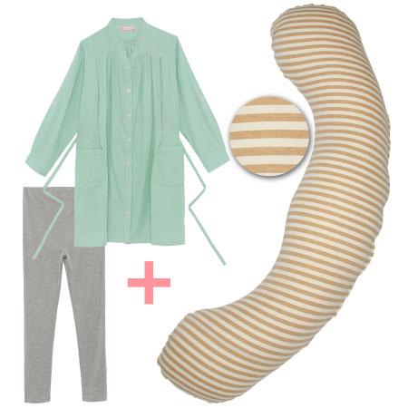 【送料無料】【天然素材】妊娠-授乳用お助け抱き枕&Wガーゼ長袖パジャマ ボーダー(オーガニック)×パジャマグリーン たまひよSHOP