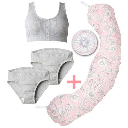 【送料無料】丸洗いで清潔!妊娠-授乳用お助け抱き枕&オーガニック綿インナー ピンクグレー たまひよSHOP