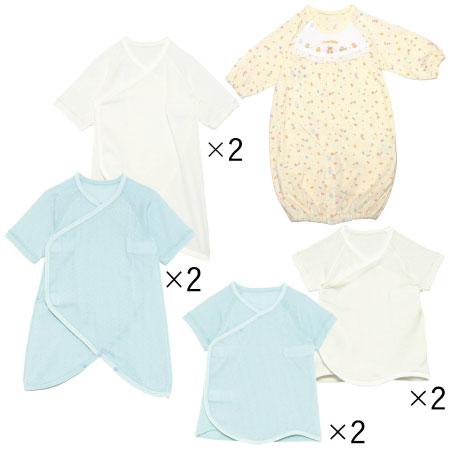 【送料無料】春生まれちゃんのためのドレスオール&肌着セット(日本製) サックス たまひよSHOP