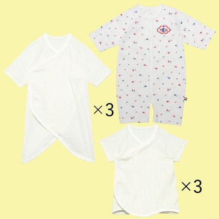 【送料無料】夏生まれちゃんのためのドレスオール&肌着セット(日本製) ホワイト たまひよSHOP