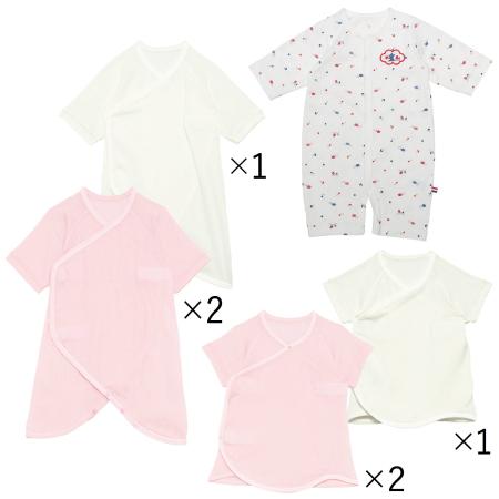 【送料無料】夏生まれちゃんのためのドレスオール&肌着セット(日本製) ピンク たまひよSHOP
