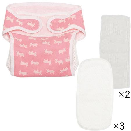 布おむつ(日本製) おむつカバー&股おむつセット/ロバ柄ピンク たまひよSHOP