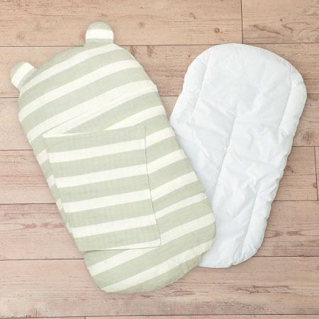 ケットでくるめて丸洗いできる!生まれてすぐから使う赤ちゃんの安心抱っこふとん(本体+カバー1枚) ボーダー たまひよSHOP