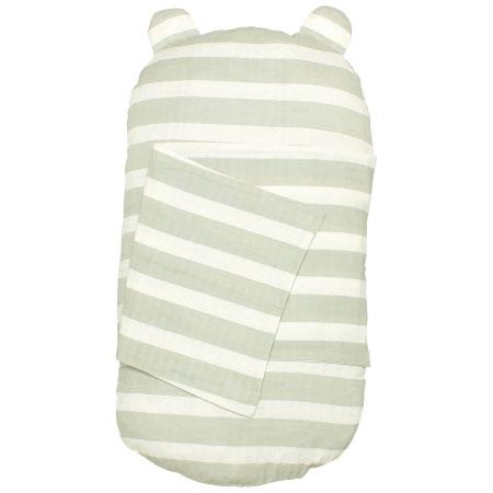 ケットでくるめて丸洗いできる!生まれてすぐから使う赤ちゃんの安心抱っこふとん(カバー1枚) グレーボーダー たまひよSHOP