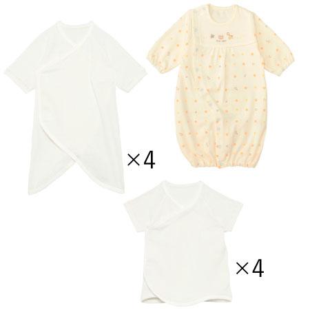 秋生まれちゃんのためのドレスオール&肌着セット(日本製) ホワイト