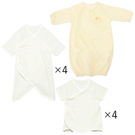 最低限必要な枚数をまとめてお届け。安心の日本製 「たまごクラブ」大人気企画「出産準備・育児グッズこれが必要!完全ガイド」から生まれた、冬生まれちゃんのためのオール日本製&綿100%のプレミアム肌着9点セット。 はじめてママの2大お悩み1「肌着が着せにくいとお着替えに時間がかかって大変!」、2「何を何枚着せたらいいの?」というお悩みを解決!「着せやすい肌着」&「必要最低限の枚数だけ」というこだわりの肌着セットです!冬生まれ赤ちゃんも快適に過ごせます。何を揃えればいいか迷ってしまうはじめてママ必見です!こちらはオール日本製のプレミアム9点セットです。 気温が安定しない季節は、温度の変化に合わせて重ね着ができるアイテムが欠かせません。短肌着4枚に加え、コンビ肌着4枚、更にドレスにもプレオールにもなるウエア1枚が付属。無撚糸パイルのやわらかな素材は保温性に優れ、冬はもちろん初春にも着られます。 〈ドレスオール〉 厚手の無撚糸パイルのウエアでばっちり防寒対策! 〈短肌着〉と〈コンビ肌着〉 たまひよオリジナル肌着の【ベビークルミイ】プレミアムワンタッチ短肌着。日本製&無撚糸のプレミアムモデルです。