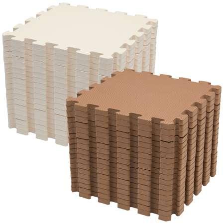 買い足ししやすいジョイントフロアマット ベージュ×ブラウン/36枚組 たまひよSHOP