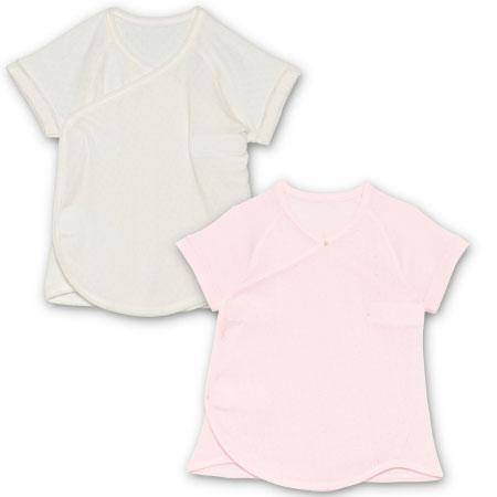 【ベビークルミイ】プレミアムワンタッチ短肌着2枚組 ピンク たまひよSHOP