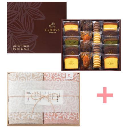 【送料無料】【期間限定】ゴディバ パティスリーアソートメント18個入と今治謹製 紋織タオルセットK たまひよSHOP・たまひよの内祝い