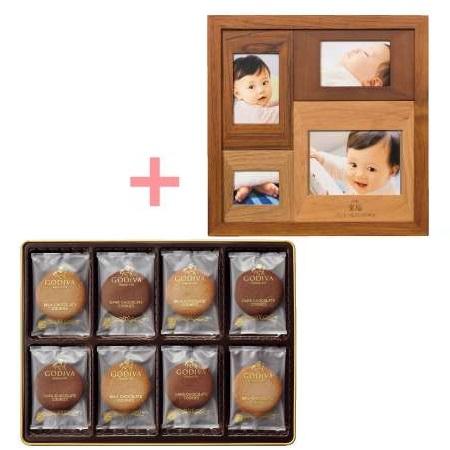 【送料無料】名入れ木製壁掛けフォトフレーム(小)とゴディバ クッキーアソートメント32枚入 たまひよSHOP・たまひよの内祝い
