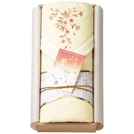 【送料無料】王華 木箱入りさくら刺繍 シルク混綿毛布(毛羽部分) アイボリー たまひよSHOP・たまひよの内祝い