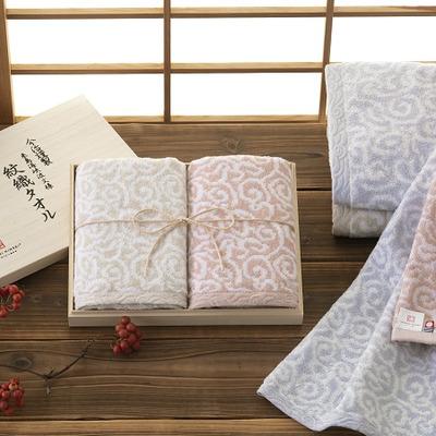 今治謹製 木箱入り紋織タオルセットK(ブルー)