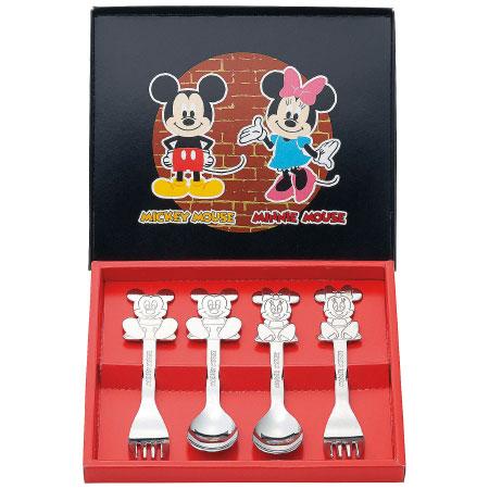 【送料無料】ミッキー&ミニー スプーン&フォーク4ピースセット たまひよSHOP・たまひよの内祝い