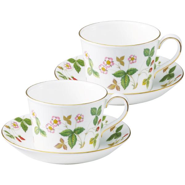 【送料無料】ウェッジウッド ワイルド ストロベリー ティーカップ&ソーサー(デルフィ) ペア たまひよSHOP・たまひよの内祝い