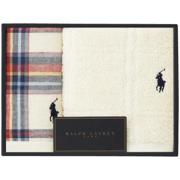 【送料無料】ラルフ ローレン ティスベリーマドラスガーゼ&ラージウィンドウペイン タオルセットB ホワイト たまひよSHOP・たまひよの内祝い