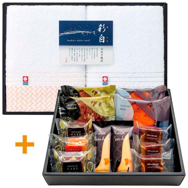 【数量限定】 ■内容:ブラウニー(ネーブル)×3、マドレーヌ(プレーン・チョコ)・チョコレートケーキ・レーズンサンド×各2、フルーツケーキ×1、フェイスタオル×2 「いろいろを、少しずつ」というおもてなしの心を込めたホテルオークラの焼き菓子に、高品質の今治タオルを添えて。 1962年の開業以来、高いレベルでのおもてなしをモットーとしているホテルオークラ。チョコレートのほろ苦さを味わうブラウニー、卵をたっぷり使ったマドレーヌなど、厳選した素材を使ったホテルオークラの焼き菓子はどなたにも喜んでいただけるものばかりです。 今治タオルは、地域に脈々と育まれてきた確かな技術・経験に裏打ちされた品質と温もりに満ちたタオルです。温暖な気候と水に恵まれて発展した百二十余年の歴史と伝統を受け継ぎながら、日々技術開発に努める中で先進的な商品づくりに挑戦しています。 お菓子とタオルを2段重ねでお届けします(写真はイメージです)。 <ホテルオークラ> 日本はもちろん世界各地へ展開しているホテルオークラ。長年にわたって継承されてきた「おもてなしの哲学」や、日本文化とデザインが息づくホテルとして世界中のファンを魅