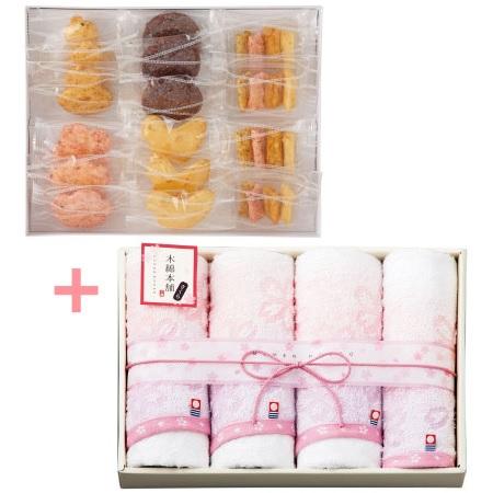 【送料無料】【期間限定】富士見堂 花鳥ひょうたん煎餅5種と今治タオル木綿本舗さくらCセット たまひよSHOP・たまひよの内祝い