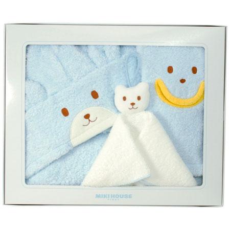 ■内容:バスポンチョ×1、バスミトン×1、ハンドタオル×1 ミキハウスファーストのかわいらしいベビーバスポンチョにバスミトンとハンドタオルをセットしました。 生まれたての赤ちゃんをバスタオルのように包み込めるたっぷりとしたサイズ。大きくなったらポンチョとして使えるベビーバスポンチョです。バスミトンもハンドタオルもすべて日本産なので出産祝いとしても、ご自宅用としても安心してお選びいただけます。■化粧箱入:280×340×53mm ■内容:バスポンチョ1000×570mm(綿100%)×1、バスミトン130×220mm(綿100%)×1、ハンドタオル250×250mm(綿100%)×1 ■サイズまたは対象年齢:新生児-2才ごろまで ■生産国:日本 ※付属品の一部にナイロンを使用しています。