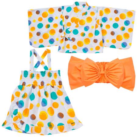 キッズ浴衣風3点セット オレンジ たまひよSHOP