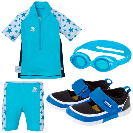 【送料無料】水遊び3点セット(スポーツタイプサンダル&水着&ゴーグル) ブルー たまひよSHOP