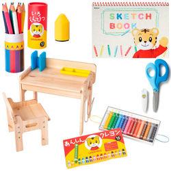 <たまひよSHOP> 送料無料!お絵描きや工作が大好きに!文具&木製デスク&チェア セット はさみ(ブルー右利き用)