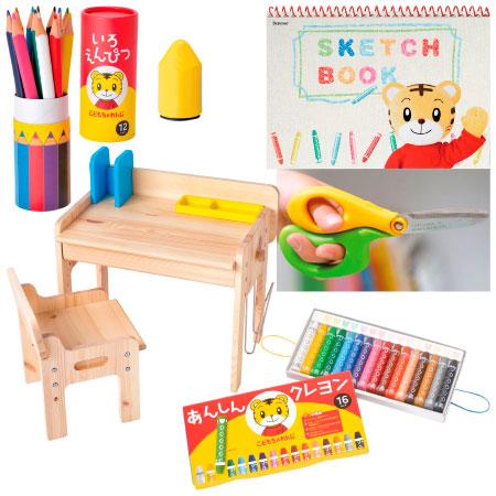 【送料無料】お絵描きや工作が大好きに!文具&木製デスク&チェア セット はさみ(イエロー×グリーン左利き用) たまひよSHOP